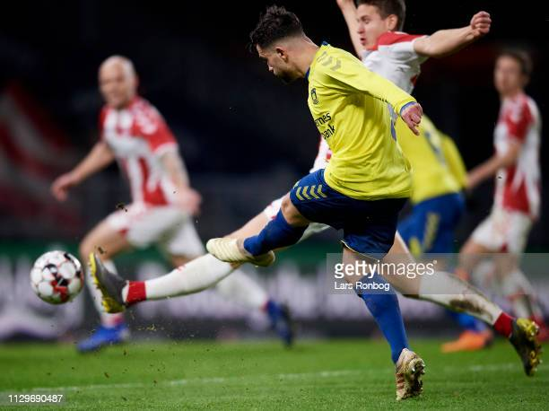 Besar Halimi of Brondby IF in action during the Danish Superliga match between Brondby IF and AaB Aalborg at Brondby Stadion on March 10 2019 in...