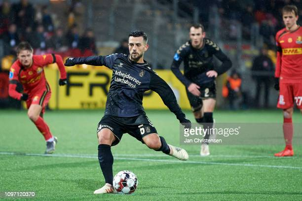 Besar Halimi of Brondby IF scores his 11 goal during the Danish Superliga match between FC Nordsjalland and Brondby IF at Right to Dream Park on...