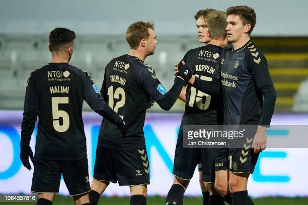 Besar Halimi of Brondby IF Simon Tibbling of Brondby IF and Mikael Uhre of Brondby IF celebrating the 14 goal from Mikael Uhre during during the...