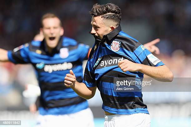 Besar Halimi of Frankfurt celebrates his team's first goal during the Second Bundesliga match between FSV Frankfurt and FC St. Pauli at Frankfurter...