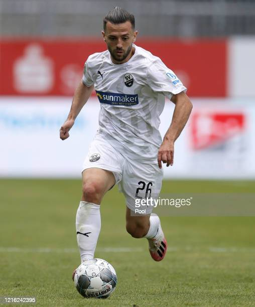 Besar Halimi of Sandhausen in action during the Second Bundesliga match between SV Sandhausen and Hannover 96 at BWTStadion am Hardtwald on May 30...