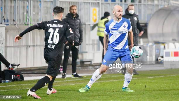 Besar Halimi of SV Sandhausen and Patrick Herrmann of SV Darmstadt 98 during the Second Bundesliga match between SV Darmstadt 98 and SV Sandhausen at...