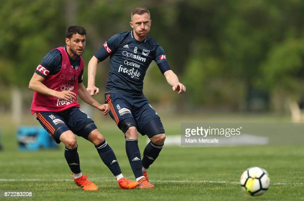 Besart Barisha and Matias Sanchez in action during a Melbourne Victory ALeague training session at Gosch's Paddock on November 10 2017 in Melbourne...