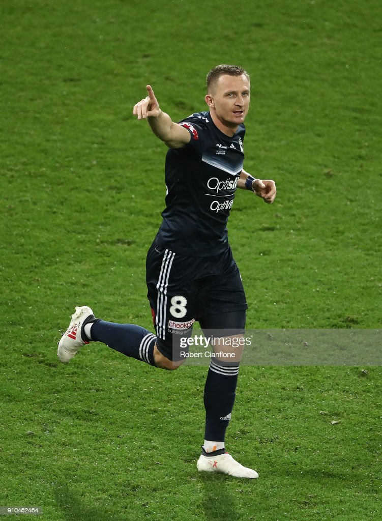 Besart Barisha of the Victory celebrates after scoring a goal during the round 18 A-League match between Melbourne Victory and Sydney FC at AAMI Park on January 26, 2018 in Melbourne, Australia.