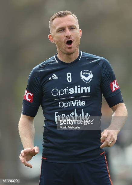 Besart Barisha reacts during a Melbourne Victory ALeague training session at Gosch's Paddock on November 10 2017 in Melbourne Australia