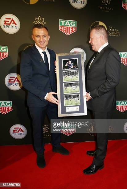 Besart Berisha and Head of ALeague Greg O'Rourke pose during a presentation ahead of the FFA Dolan Warren Awards at The Star on May 1 2017 in Sydney...