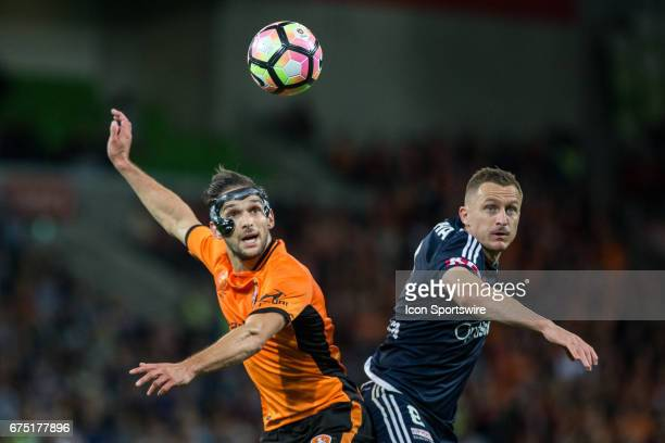 Besart Berisha of Melbourne Victory and Jack Hingert of the Brisbane Roar contest the ball during the Semi Final Match of the Hyundai ALeague Finals...