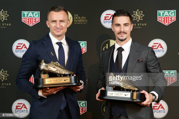 Besart Berisha of Melbourne Victory and Jamie Maclaren of Brisbane Roar pose with the ALeague Golden Boot award during the FFA Dolan Warren Awards at...