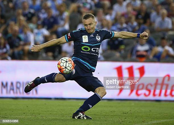 Besart Berisha of Melbourne Victory attempts a shot on goal during the round 16 ALeague match between Melbourne Victory and Sydney FC at Etihad...