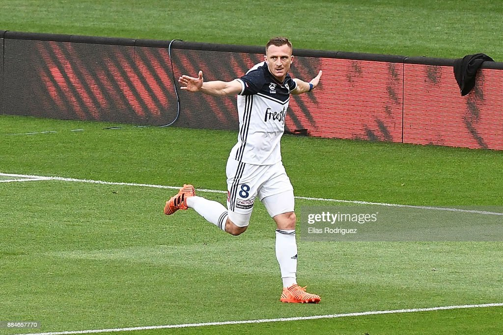 Besart Berisha of Melbourne Victory celebrates scoring a goal during the round nine A-League match between the Wellington Phoenix and the Melbourne Victory at Westpac Stadium on December 3, 2017 in Wellington, New Zealand.