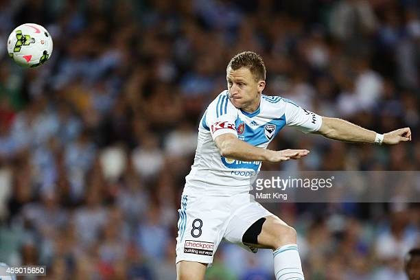 Besart Berisha of Melbourne Victory heads the ball during the round six ALeague match between Sydney FC and Melbourne Victory at Allianz Stadium on...