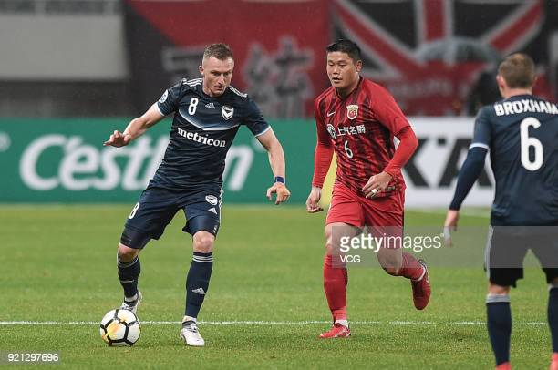 Besart Berisha of Melbourne Victory in action during the 2018 AFC Champions League Group F match between Shanghai SIPG and Melbourne Victory at...