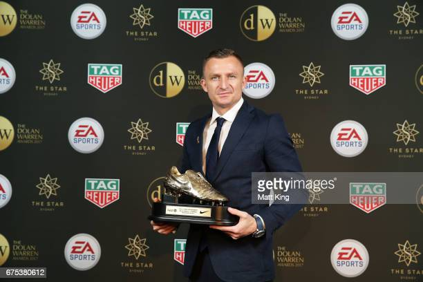 Besart Berisha of Melbourne Victory poses with the ALeague Golden Boot award during the FFA Dolan Warren Awards at The Star on May 1 2017 in Sydney...