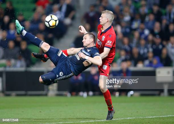 Besart Berisha of Melbourne Victory scores a goal to put his team infront during the A-League Elimination Final match between Melbourne Victory and...