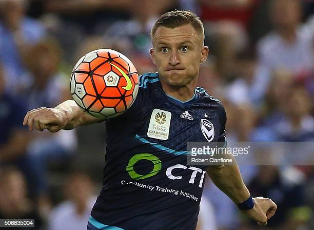Besart Berisha of Melbourne Victory watches the ball during the round 16 ALeague match between Melbourne Victory and Sydney FC at Etihad Stadium on...