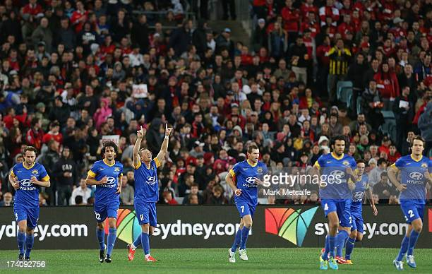 Besart Berisha of the AllStars celebrates after scoring a goal during the match between the ALeague AllStars and Manchester United at ANZ Stadium on...