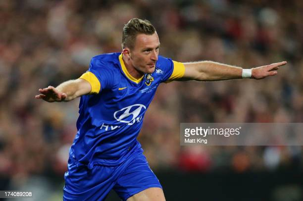 Besart Berisha of the AllStars celebrates scoring a goal during the match between the ALeague AllStars and Manchester United at ANZ Stadium on July...