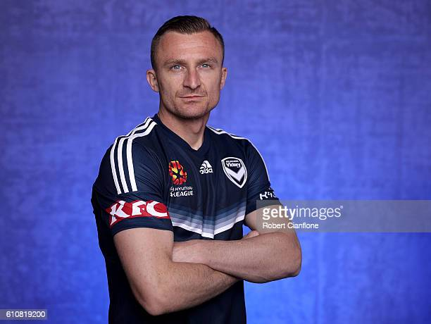 Besart Berisha of the Melbourne Victory poses during the 206/17 ALeague media day at AAMI Park on September 28 2016 in Melbourne Australia