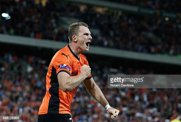 Besart Berisha of the Roar celebrates after he scored a goal during the 2014 A-League Grand Final match between the Brisbane Roar and the Western...
