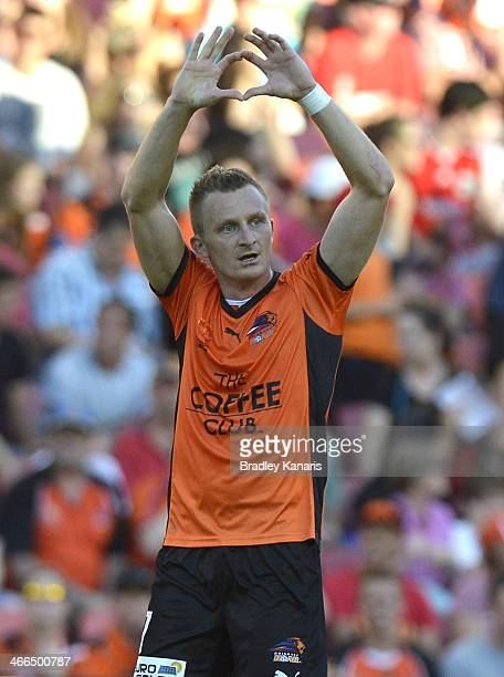 Besart Berisha of the Roar celebrates after scoring a goal during the round 17 ALeague match between Brisbane Roar and the Central Coast Mariners at...
