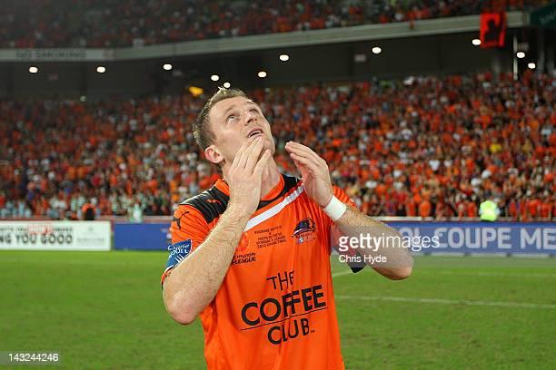 Besart Berisha of the Roar celebrates after winning the 2012 ALeague Grand Final match between the Brisbane Roar and the Perth Glory at Suncorp...