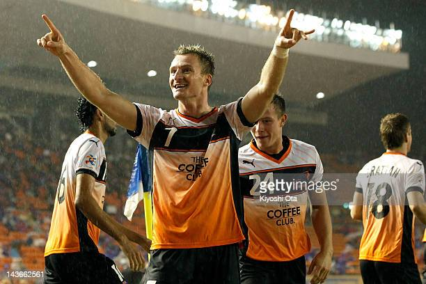 Besart Berisha of the Roar celebrates his goal against FC Tokyo during the AFC Asian Champions League Group F match between FC Tokyo and Brisbane...