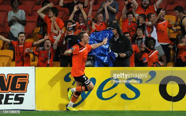 Besart Berisha of the Roar celebrates his goal during the round eight A-League match between the Brisbane Roar and the Perth Glory at Suncorp Stadium...