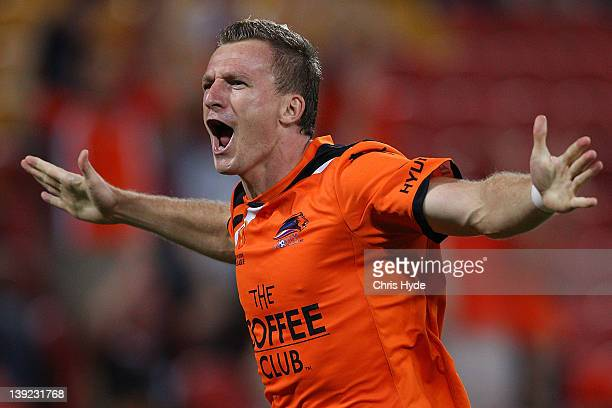 Besart Berisha of the Roar celebrates scoring a goal during the round 20 ALeague match between the Brisbane Roar and the Melbourne Victory at Suncorp...