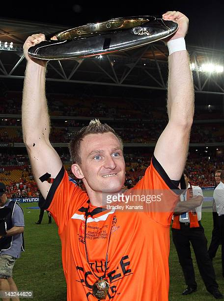 Besart Berisha of the Roar celebrates victory after the 2012 ALeague Grand Final match between the Brisbane Roar and the Perth Glory at Suncorp...