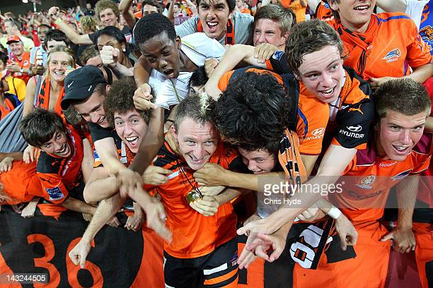 Besart Berisha of the Roar celebrates with fans after winning the 2012 ALeague Grand Final match between the Brisbane Roar and the Perth Glory at...