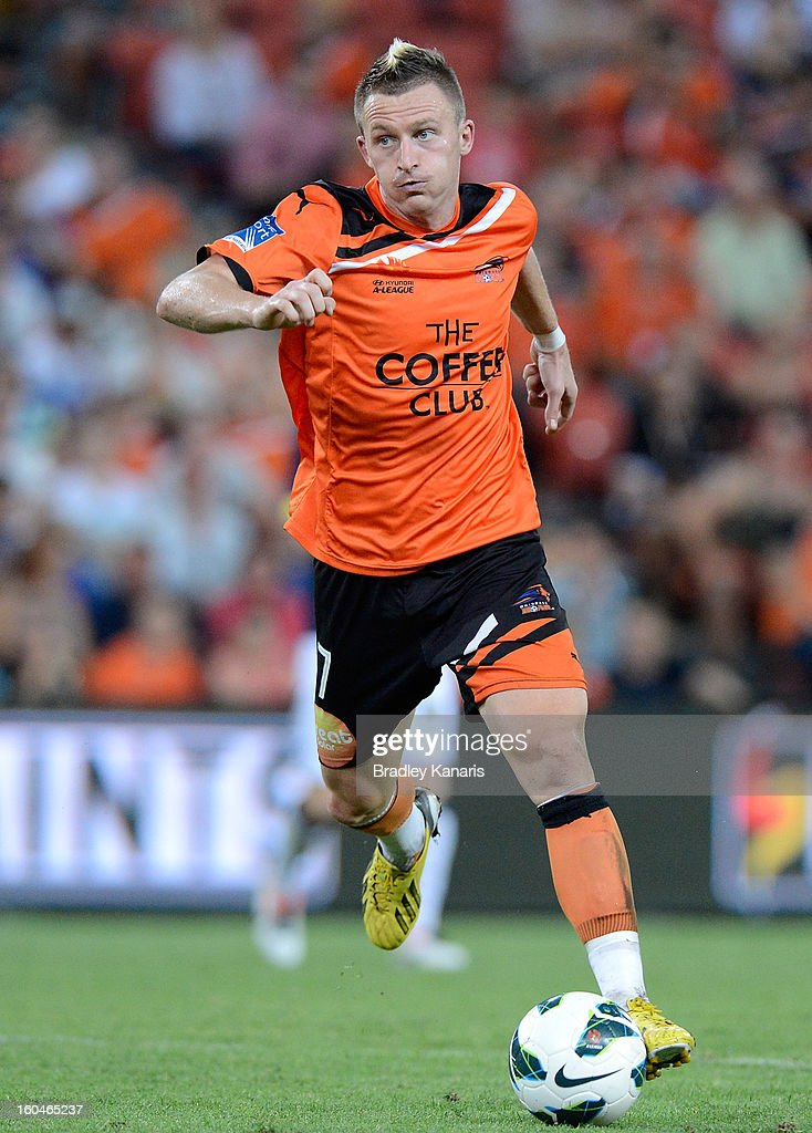 Besart Berisha of the Roar in action during the round 19 A-League match between the Brisbane Roar and the Central Coast Mariners at Suncorp Stadium on February 1, 2013 in Brisbane, Australia.