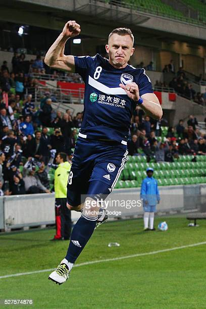 Besart Berisha of the Victory celebrares kicking a penalty goal during the AFC Champions League match between Melbourne Victory and Gamba Osaka at...