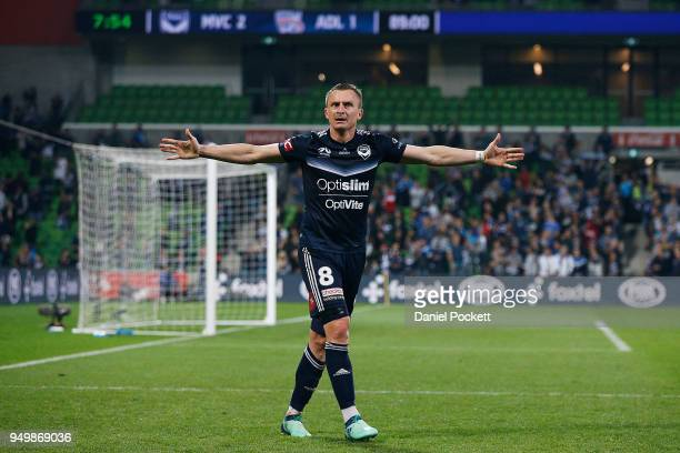 Besart Berisha of the Victory celebrates a goal during the ALeague Elimination Final match between Melbourne Victory and Adelaide United at AAMI Park...