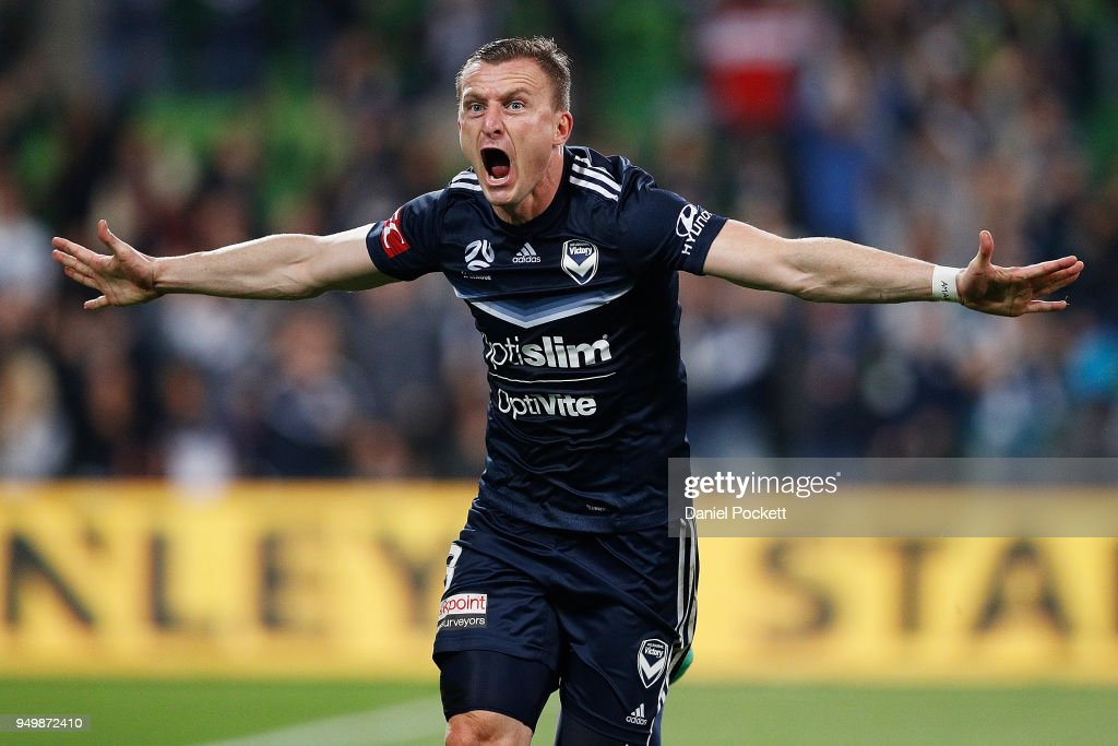 Besart Berisha of the Victory celebrates a goal during the A-League Elimination Final match between Melbourne Victory and Adelaide United at AAMI Park on April 22, 2018 in Melbourne, Australia.