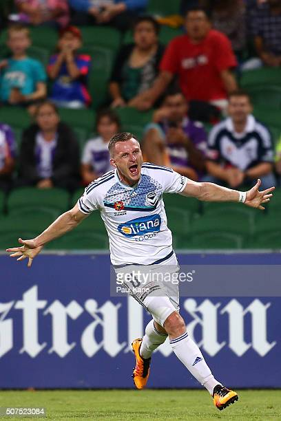 Besart Berisha of the Victory celebrates a goal during the round 17 ALeague match between Perth Glory and Melbourne Victory at nib Stadium on January...