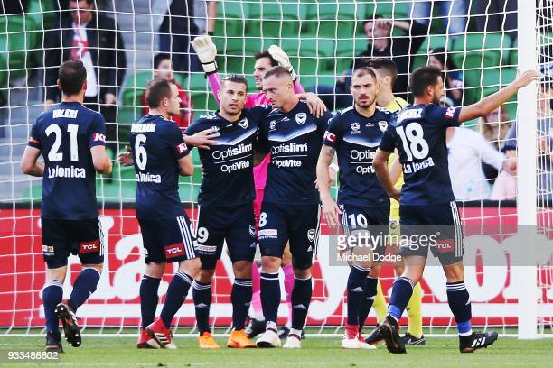 Besart Berisha of the Victory celebrates a goal during the round 23 ALeague match between the Melbourne Victory and the Central Coast Mariners at...