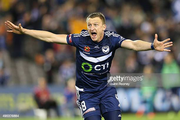 Besart Berisha of the Victory celebrates a goal during the round four ALeague match between the Melbourne Victory and Wellington Phoenix at Etihad...