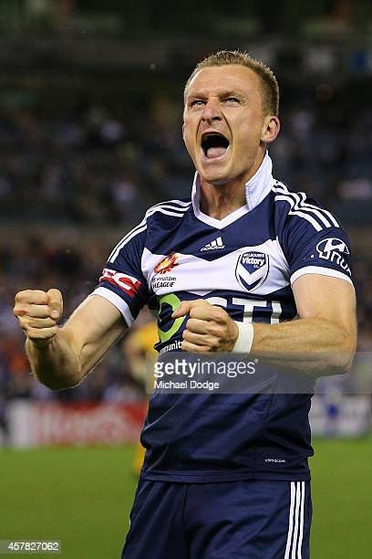 Besart Berisha of the Victory celebrates a goal during the round three ALeague match between the Melbourne Victory and Melbourne City at Etihad...