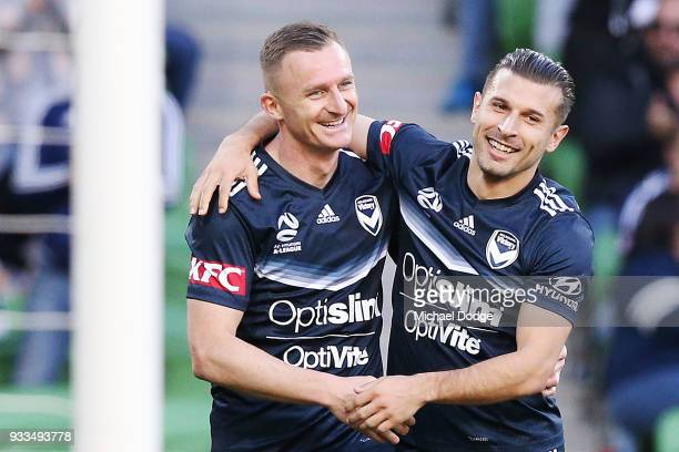 Besart Berisha of the Victory celebrates a goal with Kosta Barbarouses during the round 23 ALeague match between the Melbourne Victory and the...