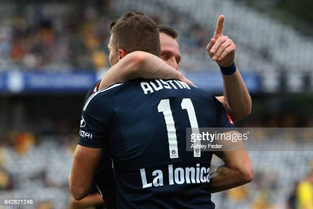 Besart Berisha of the Victory celebrates a goal with Mitch Austin during the round 22 A-League match between the Central Coast Mariners and Melbourne...