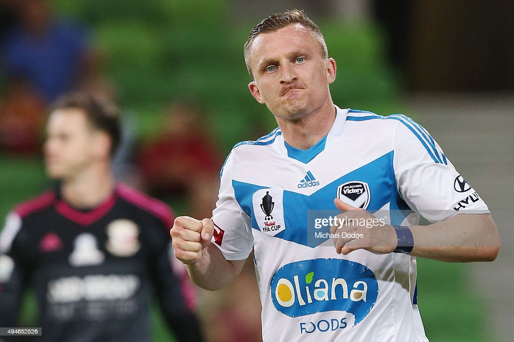 Besart Berisha of the Victory celebrates a penalty goal during the FFA Cup Semi Final match between Hume City and Melbourne Victory at AAMI Park on October 28, 2015 in Melbourne, Australia.