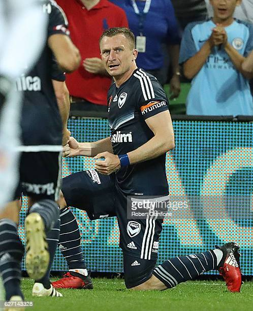 Besart Berisha of the Victory celebrates after scoring a goal during the round nine ALeague match between Melbourne Victory and Perth Glory at AAMI...