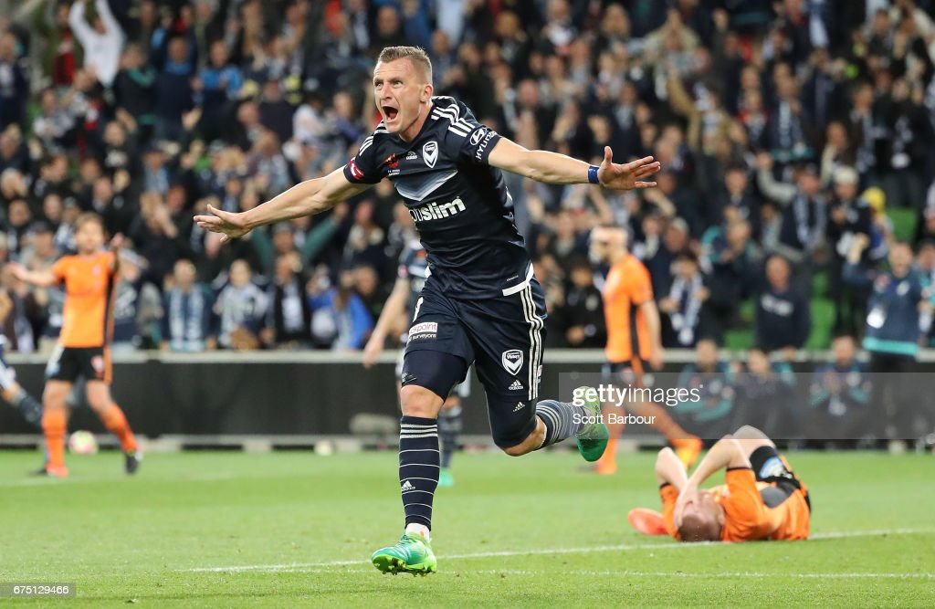 Besart Berisha of the Victory celebrates after scoring the winning goal during the A-League Semi Final match between Melbourne Victory and the Brisbane Roar at AAMI Park on April 30, 2017 in Melbourne, Australia.