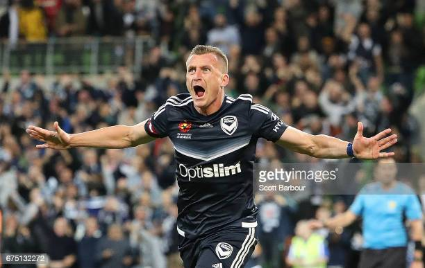 Besart Berisha of the Victory celebrates after scoring the winning goal during the ALeague Semi Final match between Melbourne Victory and the...