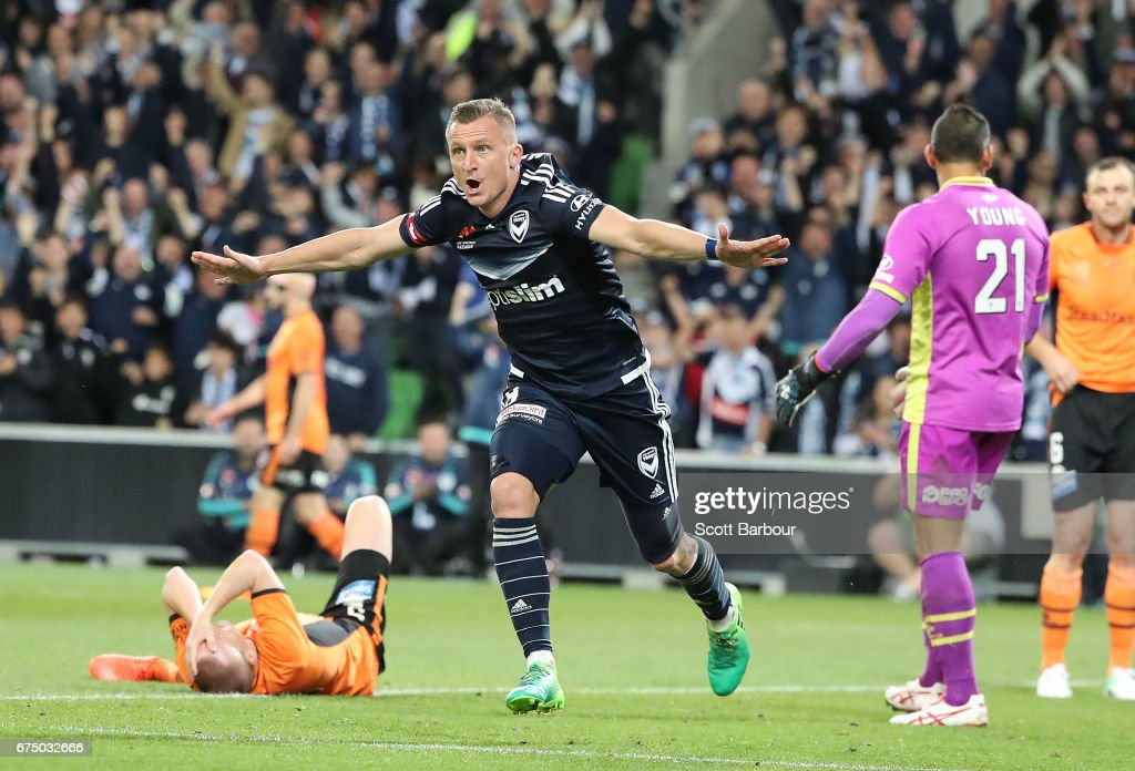 Besart Berisha of the Victory celebrates after scoring their first goal during the A-League Semi Final match between Melbourne Victory and the Brisbane Roar at AAMI Park on April 30, 2017 in Melbourne, Australia.