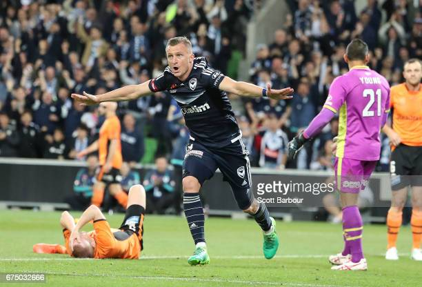 Besart Berisha of the Victory celebrates after scoring their first goal during the ALeague Semi Final match between Melbourne Victory and the...