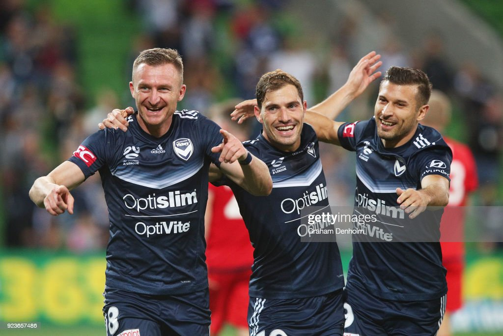 Besart Berisha of the Victory (L) celebrates his goal during the round 21 A-League match between the Melbourne Victory and Adelaide United at AAMI Park on February 24, 2018 in Melbourne, Australia.