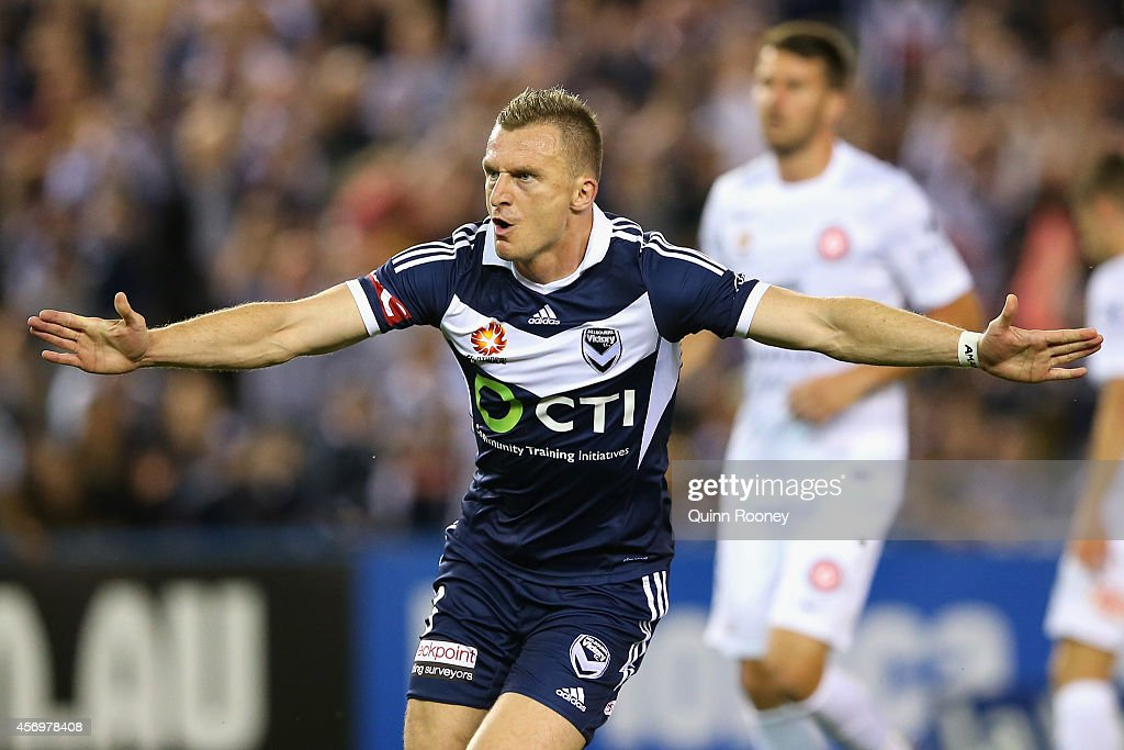 Besart Berisha of the Victory celebrates scoring a goal during the round one A-League match between Melbourne Victory and the Western Sydney Wanderers at Etihad Stadium on October 10, 2014 in Melbourne, Australia.