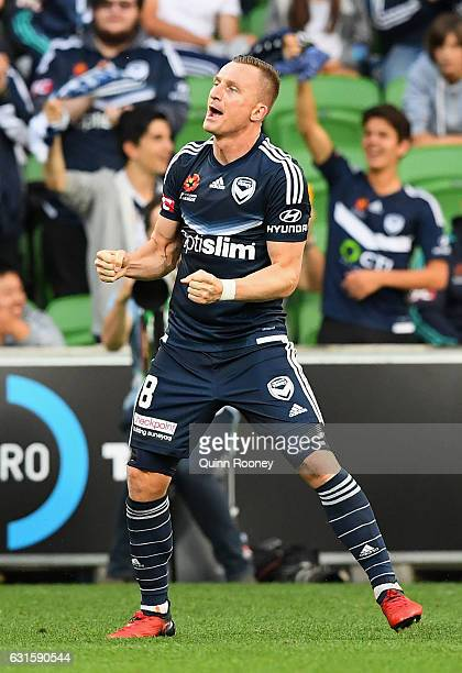 Besart Berisha of the Victory celebrates scoring a goal during the round 15 ALeague match between the Melbourne Victory and the Brisbane Roar at AAMI...