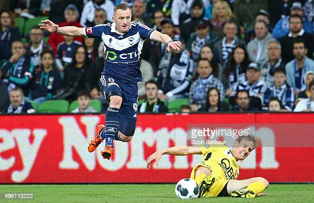 Besart Berisha of the Victory competes for the ball during the FFA Cup Final match between Melbourne Victory and Perth Glory at AAMI Park on November...